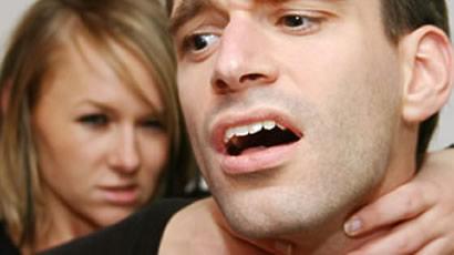 girl choking guy